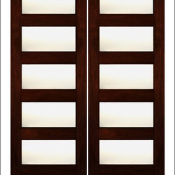 """AAW Inc. - Contemporary Entry Door Model RB-08 - Contemporary / Modern Mahogany Door with Matte Glass.  Door is available in 80"""" ( 4 Lites ) and 96"""" (5 Lites ) applications.  The glass is a dual insulated Low-E glass.  Doors can be stained any color to really stand out!   Besure to take a look at the interior versions of this door as well."""