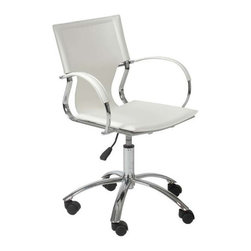 Eurostyle - Eurostyle Vinnie Swivel Office Chair in White Leather & Chrome - Swivel Office Chair in White Leather & Chrome belongs to Vinnie Collection by Eurostyle The Vinnie Chair represents the future of modern conference chair design with its futuristic styling and progressive seating concept. Featuring a chromed steel frame with a leather seat, back, and armrests available in 3 different color options including brown, black, and white. These features combined with the polished aluminum base along with swivel, and gas lift height adjustment make the Vinnie Chrome Conference chair a great modern seating choice for conference rooms and offices alike! Office Chair (1)