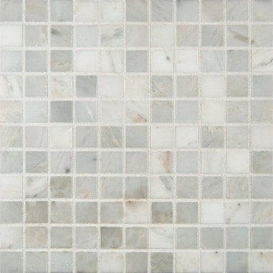 """Marbleville - Arabescato Carrara 1"""" x 1"""" Honed Marble Mosaic in 12"""" x 12"""" Sheet - Premium Grade Arabescato Carrara 1"""" x 1"""" Honed Finish Mesh-Mounted is a splendid Tile to add to your decor. Its aesthetically pleasing look can add great value to any ambience. This Mosaic Tile is made from selected natural stone material. The tile is manufactured to high standard, each tile is hand selected to ensure quality. It is perfect for any interior projects such as kitchen backsplash, bathroom flooring, shower surround, dining room, entryway, corridor, balcony, spa, pool, etc."""