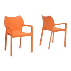 Wholesale Interiors - Limerick Plastic Stackable Dining Chair (Set of 2) - Create a comfortable, modern retreat around your dining table. The Limerick's one-piece design is made of molded plastic, giving it a durable beauty that will hold up in both indoor and outdoor settings.