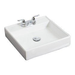 American Imaginations - 17.5-in. W x 17.5-in. D Wall Mount Square Vessel - It features a square shape. This vessel is designed to be installed as an wall mount vessel. It is constructed with ceramic. It is designed for a 4-in. o.c. faucet. The top features a 4-in. profile thickness. This vessel comes with a enamel glaze finish in White color. Wall mount white ceramic square vessel. Wall mount installation hardware & instructions included. Available for a 4 in. o.c. faucet installation. This Vessel features White hardware. Double fired and glazed for durability and stain resistance. Quality control approved in Canada and re-inspected prior to shipping your order. Faucet and accessories not included.