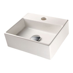 WS Bath Collections - Quarelo 53706 Ceramic Sink - Boxy can be beautiful when it comes to bathroom sinks. No matter what size your bath, you'll find this Italian-made white ceramic washbasin will fit right in. it comes in four sizes, either square or rectangular, with or without a faucet hole, and can be wall hung or set into the counter.