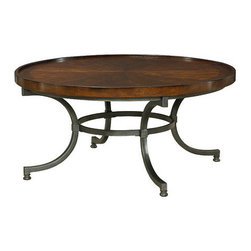 Hammary - Hammary Barrow Round Cocktail Table with Mahogany Top and Metal Base - Round Cocktail Table with Mahogany Top and Metal Base Belongs to Barrow Collection by Hammary