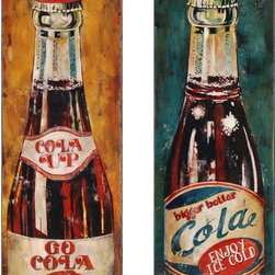 Paragon Decor - Colas Set of 2 Artwork - Canvas is wrapped around wood stretcher bar with hand painted black sides.