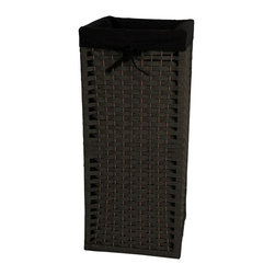Oriental Unlimited - 27.5 in. High Natural Fiber Laundry Hamper (H - Color: HoneyThis is a sturdy, lightweight and attractive square shaped basket. Tall and narrow, with a 101 practical uses around the home. Throw dog or toddlers toys inside, gloves and scarves, umbrellas and walking sticks. The advantage is there is no lid to get in the way. A simple and very useful home decor accessory. Strong, lightweight, kiln dried wood framing. Removable fabric liner. Durable, beautiful spun plant fiber cord. Interwoven design with .25 in. wood dowels. Pictured in Black. 12 in. W x 12 in. D x 27.5 in. H