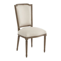 """Aidan Gray - Aidan Gray Furniture Ethan Light Dining Chair Set of 2 - This European-influenced chair is constructed of North American white oak for added strength. The finish is very textured and rustic, delivering Old World charm to your decor. Exposed nail heads with fabric that is uneven and even slightly bumpy at the finished edge providing a look that is more """"found"""" than upholstered perfection. Piece is covered in a creamy, light linen.  Sold in set of 2.  37 3/4""""T x 20 1/2""""W x 21 1/2""""D"""
