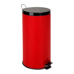 30L Round Step Can - Ruby Red - Dimensions:  25hx11.5 diameter; removeable inner bucket with chrome handle. chrome carrying handle on backside of can