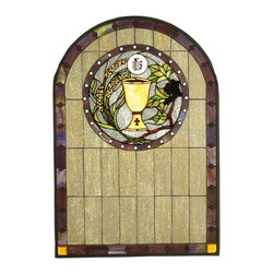 Meyda Tiffany - Meyda Tiffany Sacrament Stained Glass Tiffany Window X-92115 - From the Sacrament Collection, this Meyda Tiffany stained glass window features a large medieval door shape with a window through which a golden cup peers through. The cup is adorned by a ring of leaves and a window with rivet-style detailing. Classic earth tones pull this worldly look together.