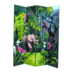 Wayborn - 4 Panel Elephant In Jungle Screen - 4 Panels. Elephant in jungle scene. Hand painted. Cedar plywood frame. Brush strokes & light crackle finish. 64 in. W x 72 in. H (40 lbs.)Hand painted screens start with a cedar plywood frame covered in a cheesecloth material. Then layer after layer of plaster is applied; each layer must dry before another layer can be applied. After all the plaster has been applied several coats of lacquer is put over the entire surface. At that time the artist begins to sketch out the painting directly on the panels of the screen and begins painting the design with water based paint. Each one of these screens has its own characteristics and is truly a work of art.