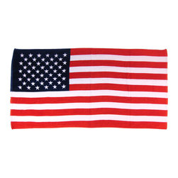 Zeckos - American Flag Beach Towel USA - This awesome red, white and blue terrycloth beach towel features the United States of America flag design. The 100% cotton towel measures 60 inches long, 30 inches wide, with sewn edges to prevent fraying. It makes a great gift for folks who are proud of their American heritage, and for those planning beach trips on holidays.