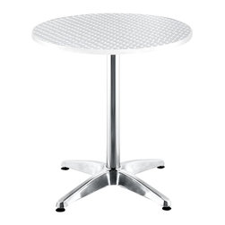 ZUO - Zuo Outdoor Christabel Round Aluminum Table - Perfectly outfit your patio with a sleek look, when you employ this round bistro table to set the tone for your space. This sturdy, gleaming aluminum table will give your deck a modern feel, and provide an easy-to-clean surface for gatherings.