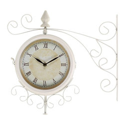 Benzara - Metal Outdoor Double Clock with Easy To Mount Wall Bracket - Metal Outdoor Double Clock is an excellent anytime low priced wall decor upgrade option that is in. H demand modern age low budget home interior fashion. This double sided clock is beautifully sculptured and designed by the experienced artists and technicians.