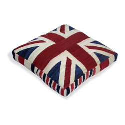 Loominary - Union Jack Floor Cushion - Why let your couches have all the fun? Let your floors in on the action with a cool, comfy accent designed just for them. Crafted from vintage over-dyed rugs and boasting a bold Union Jack pattern, this broad cushion makes any floor an attractive (and incredibly inviting) place to pull up a seat.