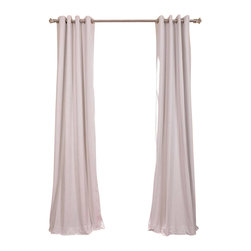 Exclusive Fabrics & Furnishings, LLC - Signature Off White Grommet Blackout Velvet Curtain - 100% Poly Velvet. Grommet. Plush Blackout Lining . Imported. Dry Clean Only.