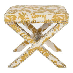 Safavieh - Kita Ottoman - Whether you call it an X-bench or cross-bench, the Kita Ottoman offers a designer look with all the trimmings. Its classic form complements any design style from contemporary to traditional, and its custom look comes from a sophisticated mix of viscose fabric with damask leaf pattern in maize and beige, and beautiful nickel nail head trim. The fully upholstered Kita is ideal in pairs at the foot of the bed or in the living room, or use it alone as seating in a master bath.