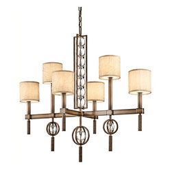 KICHLER - KICHLER Celestial Transitional Chandelier X-ZMC50124 - Make your decor sparkle with this lovely chandelier. The Kichler Lighting Celestial Transitional chandelier adds character and elegance to your home. It features distinctive taupe crinkle fabric shades with umber etched glass diffusers. The Cambridge bronze finish makes the crystal spheres look dazzling and eye-catching.