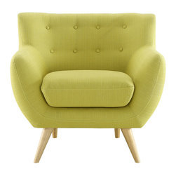 LexMod - Remark Armchair in Wheatgrass - Take notice and engage your sensibilities with this plush dual cushion, organically shaped armchair. Remark is gracefully positioned on solid natural wood dowel legs designed according to mid-century sentiments. Whether settling in with coffee and brunch, or entering a spirited discussion with friends, Remark's polyester upholstery, two rows of finely stitched back seat buttons, and organic form ensure an eye-catching appeal at every turn. Bring depth and modernity to your contemporary living room or lounge area with the Remark mid-century modern style armchair.
