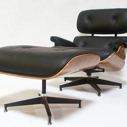 Mason Glass + Co. - Italian Leather Eames Style Lounge Chair & Ottoman, Black - Instantly recognizable, our top-of-the-line Mason Glass + Co.™ Eames style lounge chair and ottoman is as easy on the eyes as it is on the body. A perfect pairing of timeless design with ultra-comfortable function, this lounge chair is a quintessential modern classic and will be the centerpiece of whatever room in which it is placed. They are constructed with 100% premium Genuine Italian leather, which is untainted peak grain leather that is dyed for color and devoid of any pigments that would obscure the natural beauty and quality of the leather grain (pigments are typically applied to lower grade leather to obscure imperfections). Only the best hides are selected for our Italian leather and furniture made with this grade of leather will be softer than other inferior grade leathers. Our lounger swivels on its 5-pronged base and features a sturdy plywood frame and die-cast steel and aluminum hardware that will last generations. Includes ottoman made with the same premium materials.