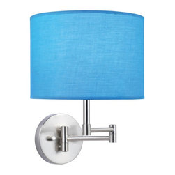 Lite Source - Lite Source Kasen Transitional Swing Arm Wall Lamp XSL-QRUT51561 - This Lite Source wall sconce from the Kasen Collection features a charming blend of traditional and contemporary influences. The bold colors of the fabric drum shade add color and interest while the swing arm frame and circular backplate come in a versatile Polished Steel hue that compliments the subtle traditional nuances of this transitional wall sconce.
