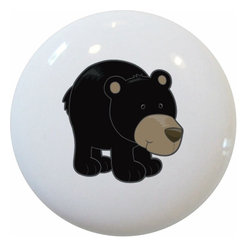 Carolina Hardware and Decor, LLC - Black Bear Cub Ceramic Cabinet Drawer Knob - 1 1/2 inch white ceramic knob with one inch mounting hardware.  Great as a cabinet, drawer, or furniture knob.  Adds a nice finishing touch to any room!