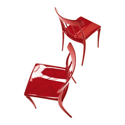 Bonaldo - GIUSEPPINA Stacking Side Chair, Red - Stacking chair with classic lines made of transparent glossy polycarbonate or coloured glossy polyamide, gas injection moulded in a single piece. Stable, comfortable and resistant to the weather.