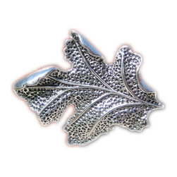 DaRosa Creations - Drawer Knob  With Oak Leaf In Silver Metal - Drawer knob - furniture knob with Oak Leaf in Silver Metal (MK104)