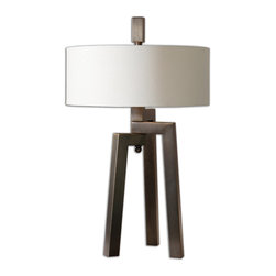 Uttermost - Mondovi Modern Table Lamp - Dance to a different drum in your decor. A hand-forged, brushed bronze metal tripod lofts a simple white linen shade to make a smart, modern statement in your favorite setting.