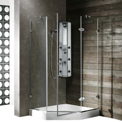 Vigo - VIGO VG6061CHCL38 Neo-Angle Shower Enclosure - Both dramatic and space-saving, the VIGO frameless neo-angle shower enclosure creates a beautiful focal point for your bathroom.