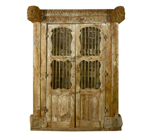 Sierra Living Concepts - Unique Historic Wrought Iron Antique Style Teak Door - Multi-windows makes this door unique. Four beautifully shaped grilled windows. This antique style door will be sure to delight any dedicated antique lover. Authentic Indian architectural style, designed with curves and vintage style finish.