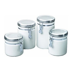 Anchor Hocking - White Canister 4-Piece Set - Our White Ceramic Canister Set adds style to your kitchen or pantry decor while providing functional, easy to use, handy food storage. This round ceramic canister has a round ceramic clamp-top lid.
