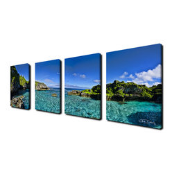 Ready2HangArt - Ready2hangart 'Limu Pano I' 4-piece Canvas Wall Art - The 'Limu Pano I' 4-piece canvas art set depicts a clear sky and sea bordered on either side by land formations. This 4-piece canvas art set features a tropical theme and is gallery-wrapped canvas for a contemporary look.