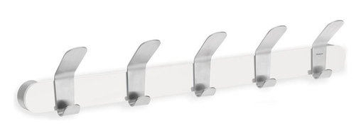 Blomus - Venea Stainless Steel Coat Rack in White Fini - Mounting kit included. 5 Hooks. Made of stainless steel. Designed by Floz Design. 1-Year manufacturer's defect warranty. 19.7 in. L x 2.35 in. W x 3.35 in. H