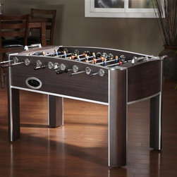 American Heritage - Atlantis Foosball Table - Classic Parquet Playing Surface. Striped Rugby Competitors. Chrome Accents. Dual Scorekeepers. Adjustable Leg levelers. 3-man goalie system. Regulation Size Field. 2 Ball Returns. 4 Balls Included. The playing field dimensions are 46 in. L x 26 in. W. Minor Assembly is Required. 33.5 in. W x57.5 in. D x 36.13 in. HThe Atlantis Foosball Table combines sleek design with fun gameplay to make up the ultimate game table. The beautifully-trimmed cabinet with accent chrome, classic parquet playing surface and striped rugby competitors are elegant and distinguished while the tournament quality craftmanship and performance are nothing short of spectacular
