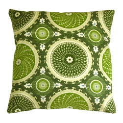 Pillow Decor - Pillow Decor - Bohemian Medallion Throw Pillow - The Bohemian Medallion Jade 20x20 Throw Pillow is a beautiful stylized medallion print pattern in jade green,lime green,beige,and a touch of turquoise. The pattern is a classic with a contemporary twist. This decorative throw pillow is tastefully feminine and modern. The pillow is made from a 100% cotton medium weight fabric and is finished with a color matched zipper. This inviting and fresh decorative throw pillow is a statement piece on its own but also coordinates well with solid color and simple pattern pillows.
