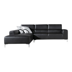 VIG Furniture - 1063 Black Leatherette L Shaped Sectional Sofa - The 1063 sectional sofa will be a great addition for any modern themed living room decor. This sectional comes upholstered in a beautiful black leatherette. High density foam is placed within the cushions for added comfort. The sectional features a simple look but will have you relaxing in style. Attached to the bottom are stainless steel leg supports with a brushed finish.