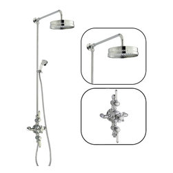 "Hudson Reed - New Traditional Shower System Chrome With 8"" Rain Head Grand Riser Kit & Handset - Please allow up to 10 days for delivery of this product"