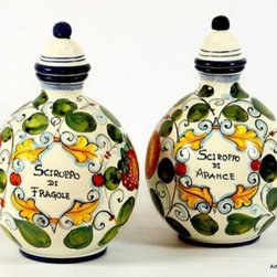 Artistica - Hand Made in Italy - Toscana: Tuscan Bottles (Set of Two) ''Sciroppo Di Arance and Fragole'' - Toscana: