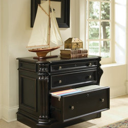 Hooker Furniture - Hooker Furniture Telluride Lateral File 370-10-466 - Telluride�s black paint finish with heavy reddish brown rub-through, carved leather panels and nail head trim give this home office furniture a rich masculine look.