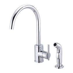 """Danze - Danze D401558 One Handle Kitchen Faucet W/ Spray Chrome - Danze D401558 Chrome Single Handle High-Rise Kitchen Faucet with Spray is part of the Parma Kitchen collection.  D401558 2 hole installation Kitchen Faucet with matching brass side spray has a 9 1/4"""" long and 15"""" high spout.  D401558 Single lever handle meets all requirements of ADA.  California and Vermont compliant."""