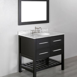 """36"""" Bosconi SB-250-3 Contemporary Single Vanity - Solid wood frame of the Bosconi Contemporary Vanity deliver an eye-catching rich Black finish matching any bathroom interior. With two drawers that are located right above the lower towel rack providing great storage option. Spacious soft closing drawers create ample storage space while showcasing the Contemporary and skilled craftsmanship with equally stunning White Carrara Marble. The matching vanity mirror completes this amazing set and will complement any bathroom decor."""