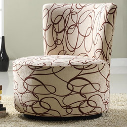 Tribecca Home - TRIBECCA HOME Moda Chocolate Swirl Print Round Swivel Chair - This Moda chocolate swirl print round swivel chair will quickly become a favorite of children and adults alike,with its chocolate syrup swirl pattern and 360 degree swivel seat. Use in any room of the house as a convenient and comfortable extra seat.