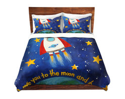 DiaNoche Designs - Duvet Cover Twill - Love You to the Moon Rocket - Lightweight and super soft brushed twill Duvet Cover sizes Twin, Queen, King.  This duvet is designed to wash upon arrival for maximum softness.   Each duvet starts by looming the fabric and cutting to the size ordered.  The Image is printed and your Duvet Cover is meticulously sewn together with ties in each corner and a concealed zip closure.  All in the USA!!  Poly top with a Cotton Poly underside.  Dye Sublimation printing permanently adheres the ink to the material for long life and durability. Printed top, cream colored bottom, Machine Washable, Product may vary slightly from image.