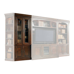 Hooker Furniture - European Renaissance II Glass Door Bookcase - White glove, in-home delivery included!  Includes furniture assembly!  Glass Door Bookcase only. (Shown with European Renaissance II modular wall system.  It is the tall unit with doors on the left side of the Entertainment Console.)  Cherry and myrtle burl veneers with hardwood solids are an exquisite combination in the European Renaissance executive home office collection.  Two wood-framed beveled glass doors, one adjustable wood-framed glass shelf, two adjustable shelves, two doors with one adjustable shelf behind, one light controlled by a three-intensity touch switch.