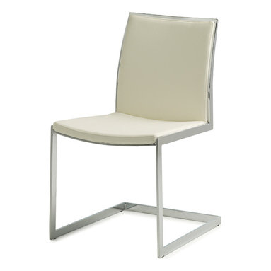 Nuevo Living - Temple Dining Chair, White - You'll make every meal a touch more sophisticated with this sleek seating. A sturdy frame of polished chrome has linear fluidity, the perfect foil for slim yet plush Naugahyde-covered padding.