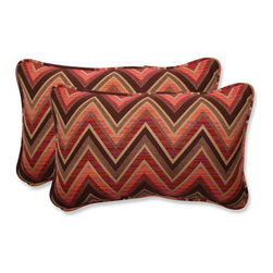 Pillow Perfect - Fischer Brown and Pink Rectangular Throw Pillow with Sunbrella Sunset Fabric, Se - - This set of rectangular throw pillows is covered in 100-percent solution dyed acrylic Sunbrella fabric, which provides the perfect balance of worry-free performance and fashion. These Sunbrella pillows will retain their color and strength, even through intense exposure to sun and rain. Resists mildew, rot, chlorine and fading, so you can enjoy these pillows for many seasons to come. These pillows are as soft and luxurious as they are durable. Filled with a plush 100-percent polyester fiber filling, these pillows bring the comfort of indoors, out.  - Pillow Care and Cleaning: Sunbrella fabric should be cleaned regularly. Brush off any loose dirt and wash with a mild soap and lukewarm water solution (less than 100�F/38�C). For stubborn stains and mildew, wash with a solution of 1 cup (236ml) of bleach and 0.25 cup (59ml) of mild soap per gallon (3.8L) of water. Rinse thoroughly to remove soap. Allow fabric to air dry  - Pillows with outdoor 100-percent acrylic Sunbrella fabric - colors stay strong and vibrant  - Worry Free - resists mildew, stains, chlorine and fading; Suitable for indoor or outdoor use  - Set includes two pillows filled with a plush 100-percent polyester fiber  - Easy to clean - use mild soap with lukewarm water, rinse, and air dry. Bleach cleanable for mildew or tougher stains  - 5-Year Fabric Limited Warranty - withstands years of normal exposure to sun and rain  - Made in USA  - Secondary Colors: Sunset Pillow Perfect - 546995