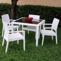 Compamia - 5 PC Miami Wickerlook Square Dining Set with Armchairs - White - 5 PC Miami Wickerlook Square Dining Set with Armchairs - White