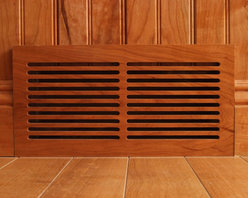 "Cherry Wall Vent Cover - WR612 (6"" x 12"") Cherry wall register vent with B209 5 1/2"" double rippled baseboard and B606B 5"" tongue & groove beaded wainscote with a clear semi-gloss finish."