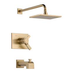 Delta TempAssure(R) 17T Series Tub and Shower Trim - T17T453-CZ - Inspired by slim lines and graceful arc of a ribbon, the Vero bath collection offers a high-end, modern look to the bath.