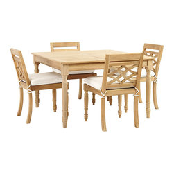 "Ballard Designs - Ceylon Teak 5-Piece Square Dining Set - Coordinates with our Ceylon Teak Outdoor Collection. 48"" Square Table and 4 Side Chairs Included. Basic sand cushions included. Teak suitable for outdoor use. Assembly required. With its refined, hand-carved details, our Ceylon Dining Table Set captures the relaxed elegance of classic British Colonial style. Crafted of solid teak, renowned for its natural durability and resistance to harsh weather and damaging insects. Natural finish will weather to a warm, silvery gray if left outdoors exposed. Ceylon Dining Table features: . . . . . Replacement cushions available. Requires 1 replacement cushion per chair. Use of an outdoor furniture cover is recommended to extend the life of your piece."