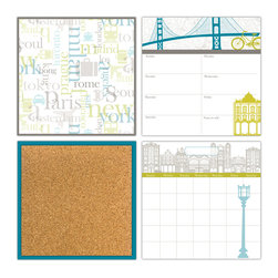 """WallPops - Globe Trotter Organization Wall Art Decal Kit - Go global-chic with this worldly organization kit. Paying homage to jet-setter destinations, fashion capitals and famous architecture from around the world, this kit has a cultured and contemporary design. This set includes everything you need to stay on track ofan action packed schedule, with a dry-erase monthly calendar, weekly planner, and message board, as well as a blue framed cork board with 6 pins. Each of the orgainzer kit pieces are 13"""" x 13""""."""